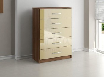 Birlea Lynx Walnut with Cream Gloss 5 Drawer Chest of Drawers