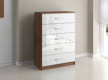 Birlea Lynx Walnut with White Gloss 5 Drawer Chest of Drawers