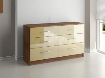 Birlea Lynx Walnut with Cream Gloss 6 Drawer Wide Chest of Drawers