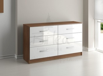 Birlea Lynx Walnut with White Gloss 6 Drawer Wide Chest of Drawers