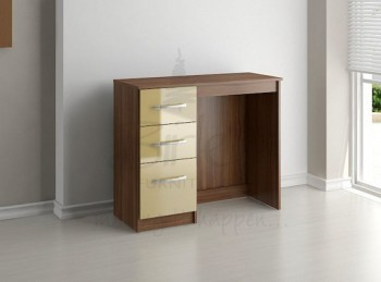 Birlea Lynx Walnut with Cream Gloss 3 Drawer Single Pedestal Dressing Table