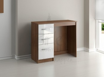 Birlea Lynx Walnut with White Gloss 3 Drawer Single Pedestal Dressing Table