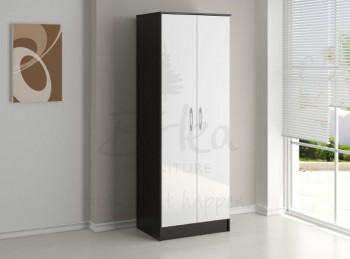 Birlea Lynx Black with White Gloss 2 Door Wardrobe
