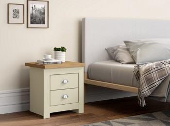 Birlea Winchester 2 Drawer Bedside In Cream And Oak