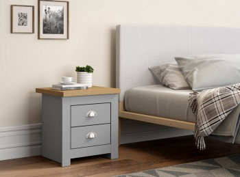 Birlea Winchester 2 Drawer Bedside In Grey And Oak