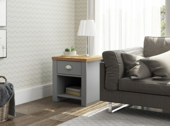 Birlea Winchester 1 Drawer Lamp Table In Grey And Oak