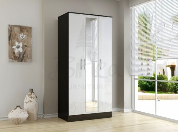 Birlea Lynx Black with White Gloss 3 Door Wardrobe with Centre Mirror