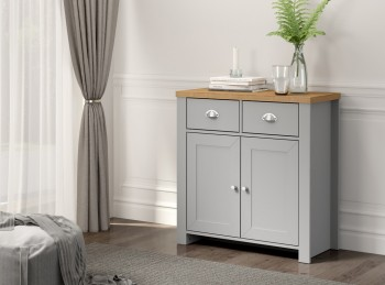 Birlea Winchester 2 Door 2 Drawer Sideboard In Grey And Oak