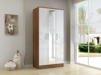 Birlea Lynx Walnut with White Gloss 3 Door Wardrobe with Center Mirror