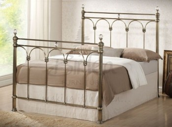 Birlea Shanghai 4ft6 Double Brass Metal Bed Frame With Crystals