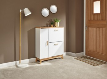 GFW Nordica Shoe and Boot Cabinet in Oak and White