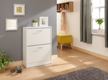 GFW Stirling Two Tier Shoe Cabinet in White