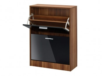 LPD Strand 2 Drawer Shoe Cabinet In Black Gloss