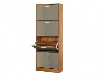 LPD Strand 4 Drawer Shoe Cabinet In Grey Gloss