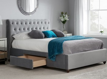Birlea Marlow 5ft Kingsize Grey Fabric Bed Frame with 2 Drawers