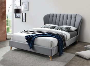 Birlea Elm 4ft Small Double Grey Velvet Fabric Bed Frame