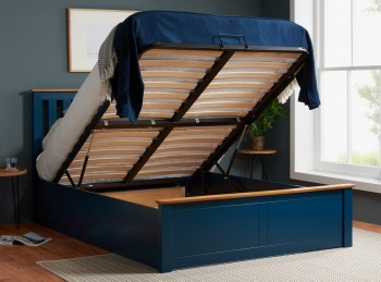 Birlea Phoenix 4ft Small Double Navy Blue Ottoman Lift Wooden Bed Frame