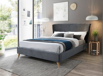Birlea Rowan 4ft6 Double Grey Velvet Fabric Bed Frame