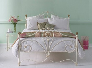 OBC Melrose 4ft 6 Double Glossy Ivory Metal Headboard
