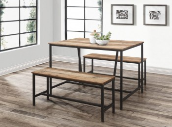Birlea Urban Rustic Dining Table And Bench Set