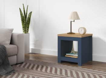 Birlea Winchester Lamp Table In Navy Blue And Oak