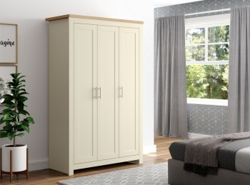 Birlea Winchester 3 Door Wardrobe In Cream And Oak