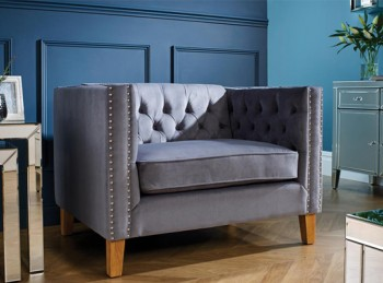 Birlea Florence Snuggle Chair In Grey Velvet Fabric