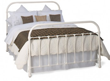 OBC Timolin 4ft 6 Double Glossy Ivory Metal Headboard