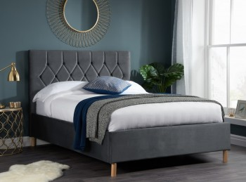 Birlea Loxley 4ft6 Double Grey Fabric Bed Frame