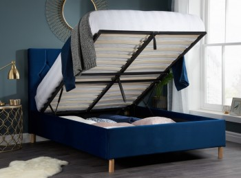 Birlea Loxley 5ft Kingsize Blue Fabric Ottoman Bed Frame