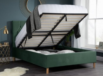 Birlea Loxley 4ft6 Double Green Fabric Ottoman Bed Frame