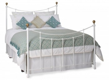 OBC Virginia 4ft 6 Double Satin White Metal Headboard