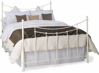 OBC Winchester 4ft 6 Double Glossy Ivory Metal Headboard