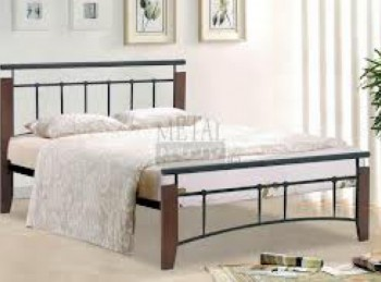 Metal Beds Kentucky 4ft6 (135m)  Double Black and Antique Oak Bed Frame