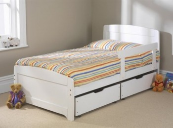 BUNDLE Friendship Mill Rainbow White 3ft Single Wooden Bed Frame With 2 x Side Rails And Pair Of Underbed Drawers