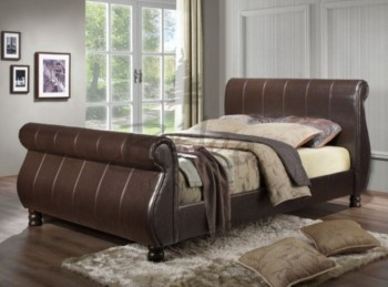 birlea marseille 6ft super kingsize brown faux leather sleigh bed
