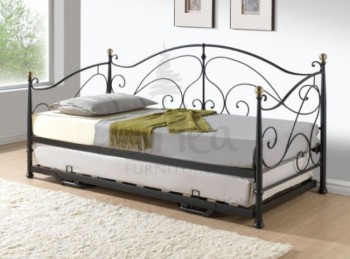 Birlea Milano 3ft Single Black Metal Day Bed Frame with Trundle