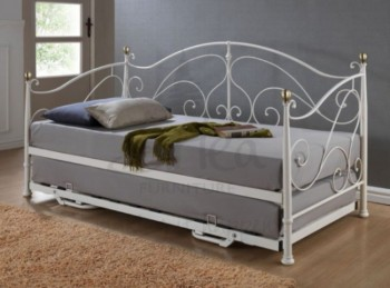 Birlea Milano 3ft Single Cream Metal Day Bed Frame with Trundle