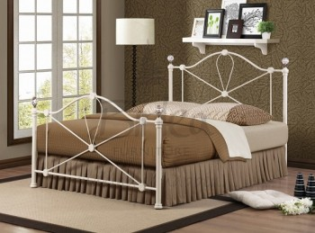 Birlea Jasmine 4ft6 Double Cream Metal Bed Frame with Crystal Finials