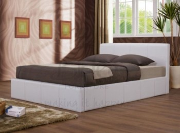 Birlea Ottoman 4ft6 Double Faux Leather White Bed Frame