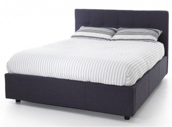 Serene Lucca 5ft Kingsize Oxford Blue Fabric Ottoman Bed Frame
