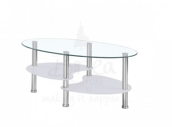Birlea Soho 3 Tier Glass Coffee Table with White Edging