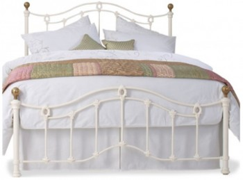 Obc Tulsk Low Footend 4ft 6 Double Glossy Ivory Metal Bed