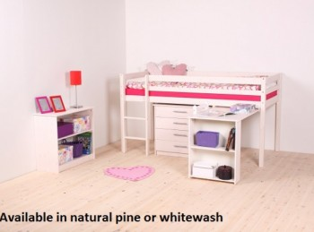 Thuka Hit 7 Childrens Mid Sleeper Bed Frame Available in Natural or Whitewash