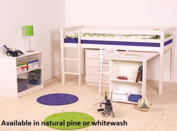 thuka hit 12 childrens mid sleeper bed frame available in natural or whitewash