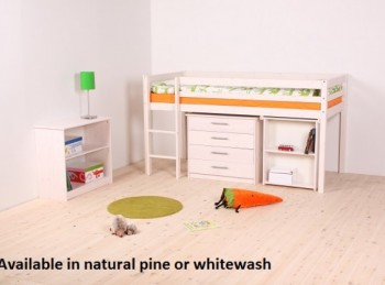 Thuka Hit 25 Childrens Mid Sleeper Bed Frame Available in Natural or Whitewash