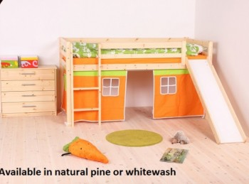 Thuka Hit 26 Childrens Mid Sleeper Bed Frame Available in Natural or Whitewash