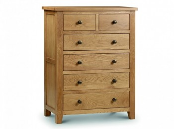 Julian Bowen Marlborough American Oak 4+2 Chest of Drawers