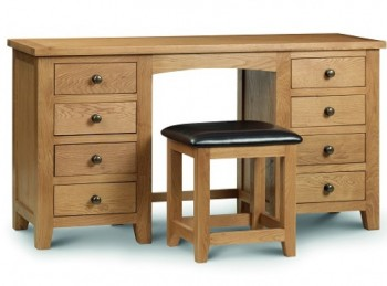 Julian Bowen Marlborough American Oak Double Pedestal Dressing Table