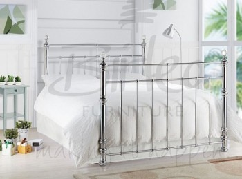 Birlea Georgina 4ft6 Double Chrome Metal Bed Frame with Crystals